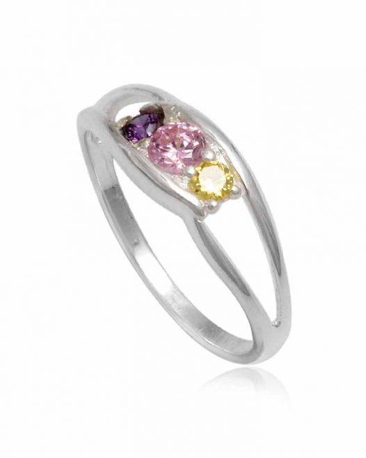 inel cu zirconii in trei culori