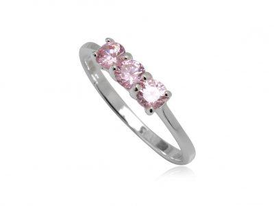 inel cu trei zirconii roz
