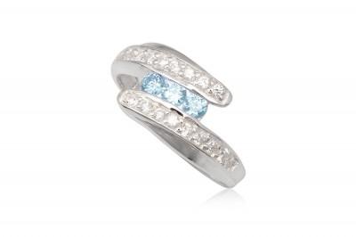 Inel din argint cu zirconii bleu si transparente