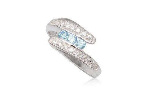 inel argint cu zirconii bleu si transparente