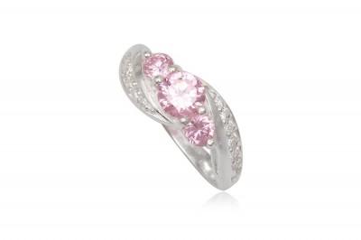 Inel de logodna din argint cu pietre roz deschis