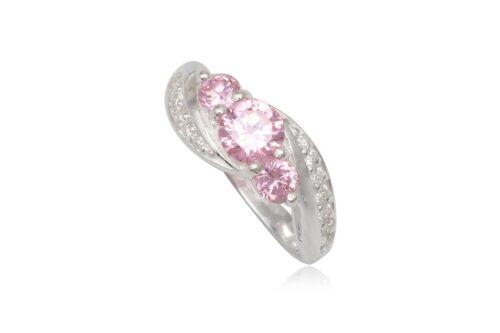 inel cu zirconii albe si roz deschis