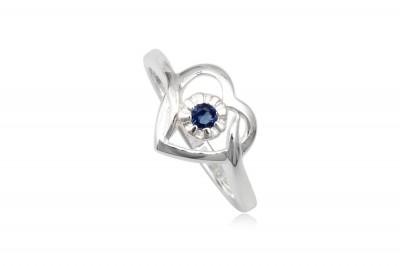 Inel de logodna Inima cu floare albastra