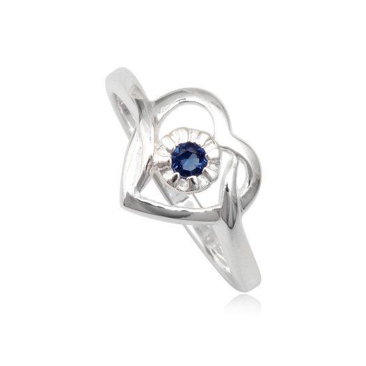 inel cu inima si floare din argint