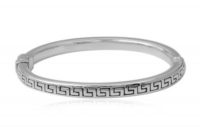 Bratara fixa din argint cu simbol grecesc