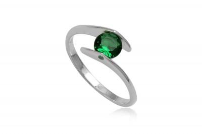 Inel finut din argint cu zirconia verde inchis