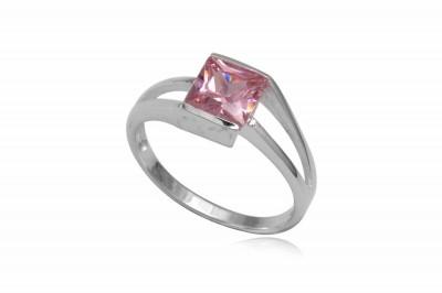 Inel din argint cu piatra patrata roz