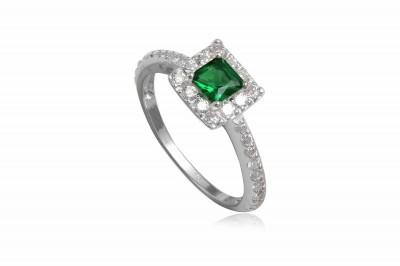 Inel din argint cu piatra verde inchis