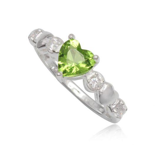 inel cu inima verde deschis