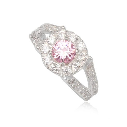 inel pink love din argint
