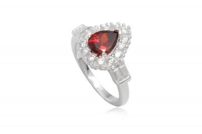 Inel din argint cu zirconia rosie
