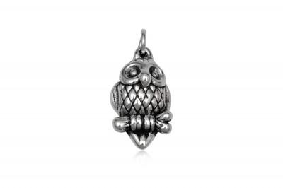 Pandantiv Bufnita din argint cu aspect vintage