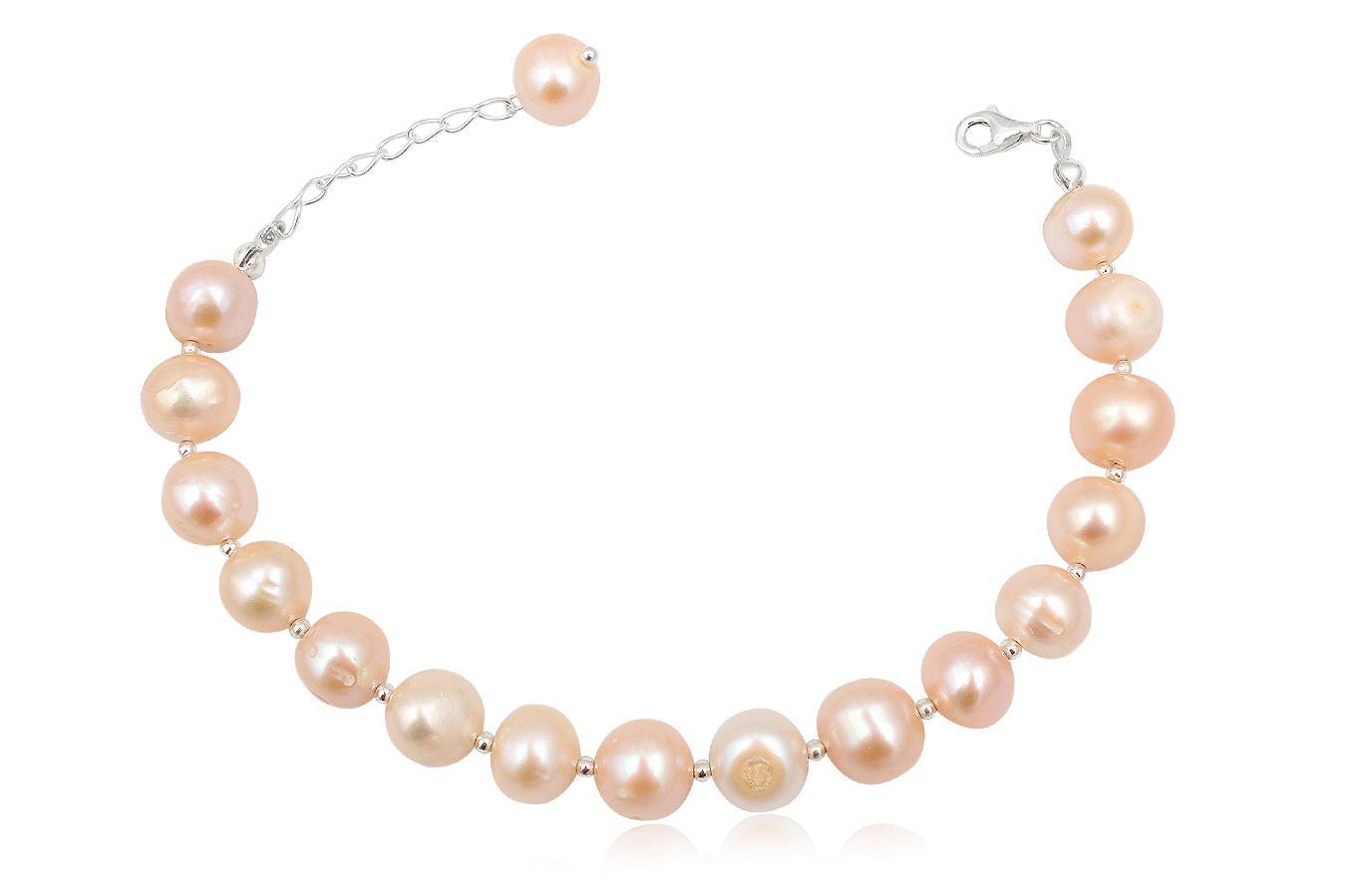 bratara cu perle roz 1 cm