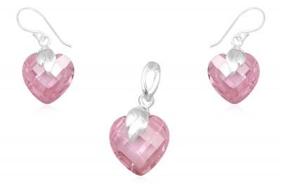 Set din argint si cubic zirconia roz fatetat
