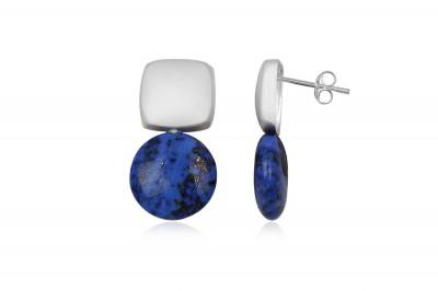 Cercei din argint cu pietre rotunde Lapis Lazuli
