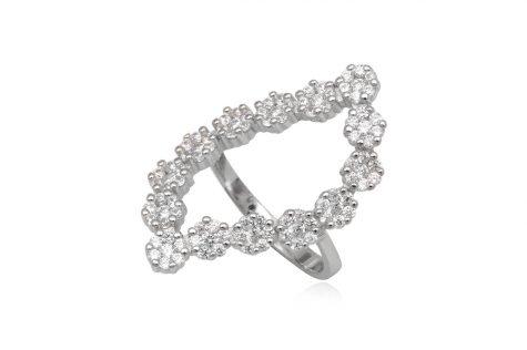 inel din argint cununa de flori