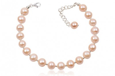 Bratara din perle roz somon 8 mm