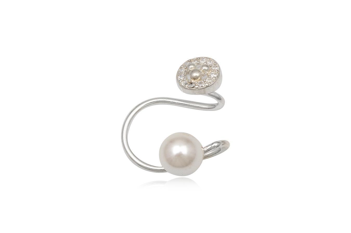 cercel ear cuff cu perla alba