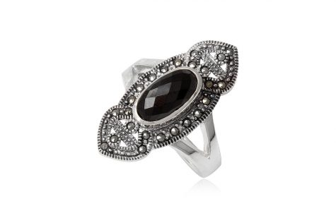 inel din argint cu marcasite si piatra neagra