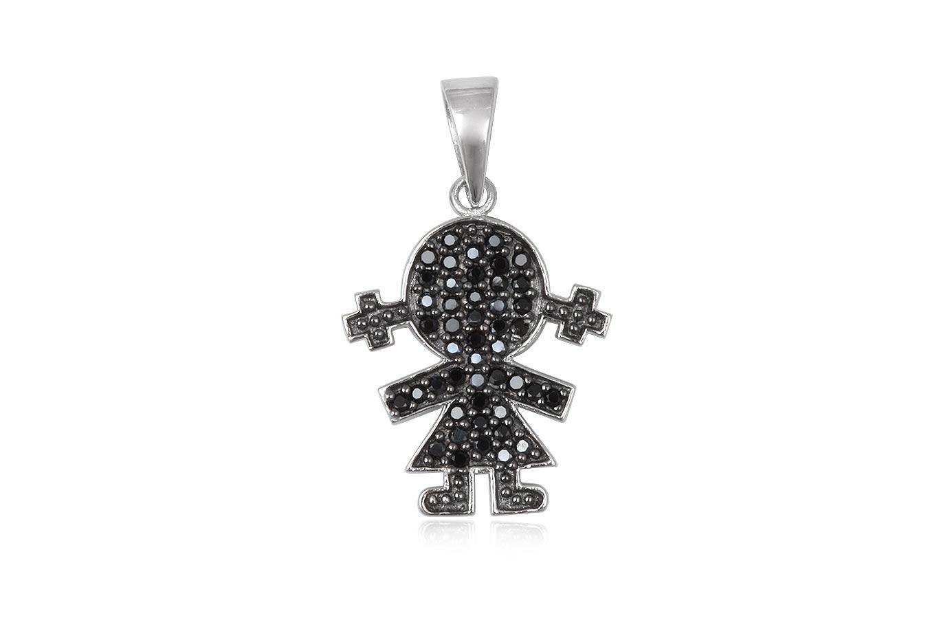 pandantiv fetita argint cu zirconii negre