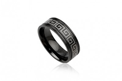 Inel barbati din inox negru cu simbol grecesc