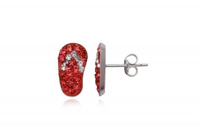 Cercei Papucei din argint cu cristale rosii