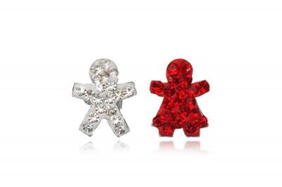Cercei Fetita si Baietel cu cristale rosii si albe