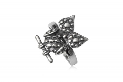 Inel Bufnita din argint cu aspect vintage