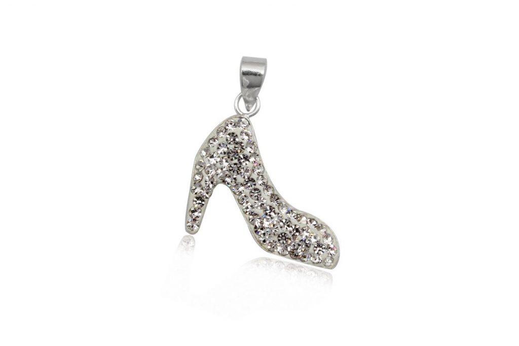 Pandantiv Pantofior Din Cristale Albe Si Argint
