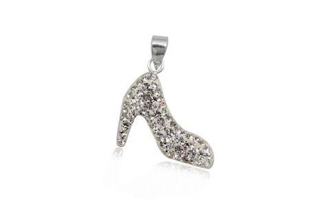 pandantiv pantof din argint si cristale
