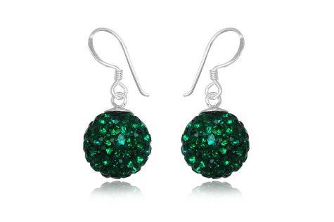 cercei cu bobite verde-smarald