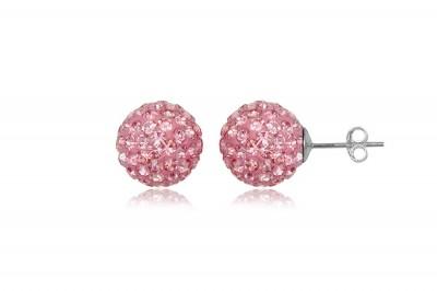 Cercei bobite din argint cu cristale roz diafan