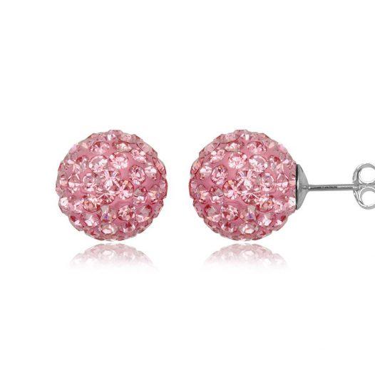 cercei bobite argint cu cristale roz