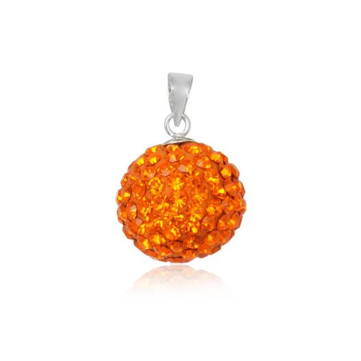 pandantiv rotund cu cristale orange