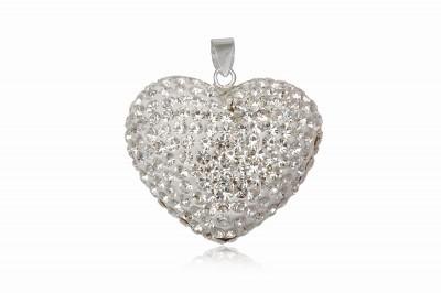 Pandantiv Inima din cristale albe si argint