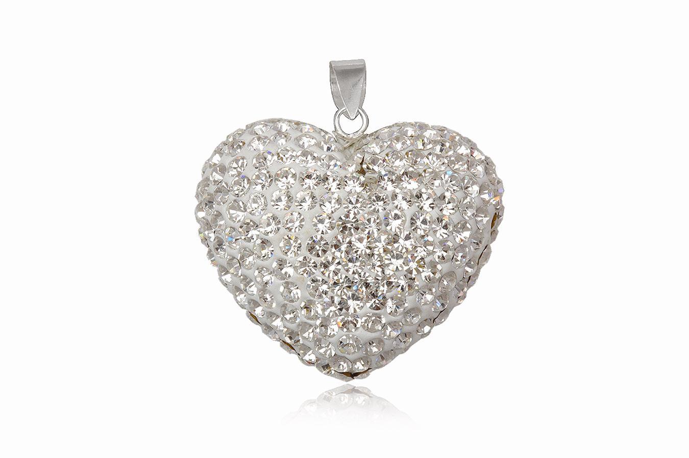 pandantiv inima din cristale albe
