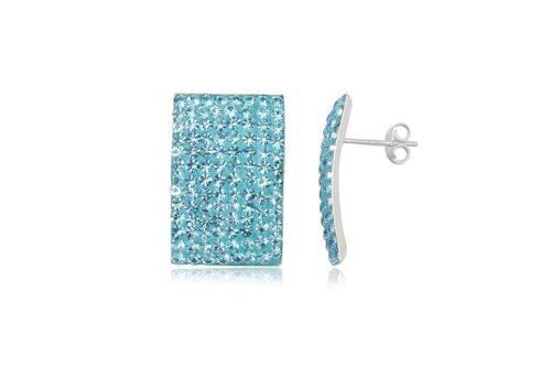 cercei casual din argint cu cristale bleu