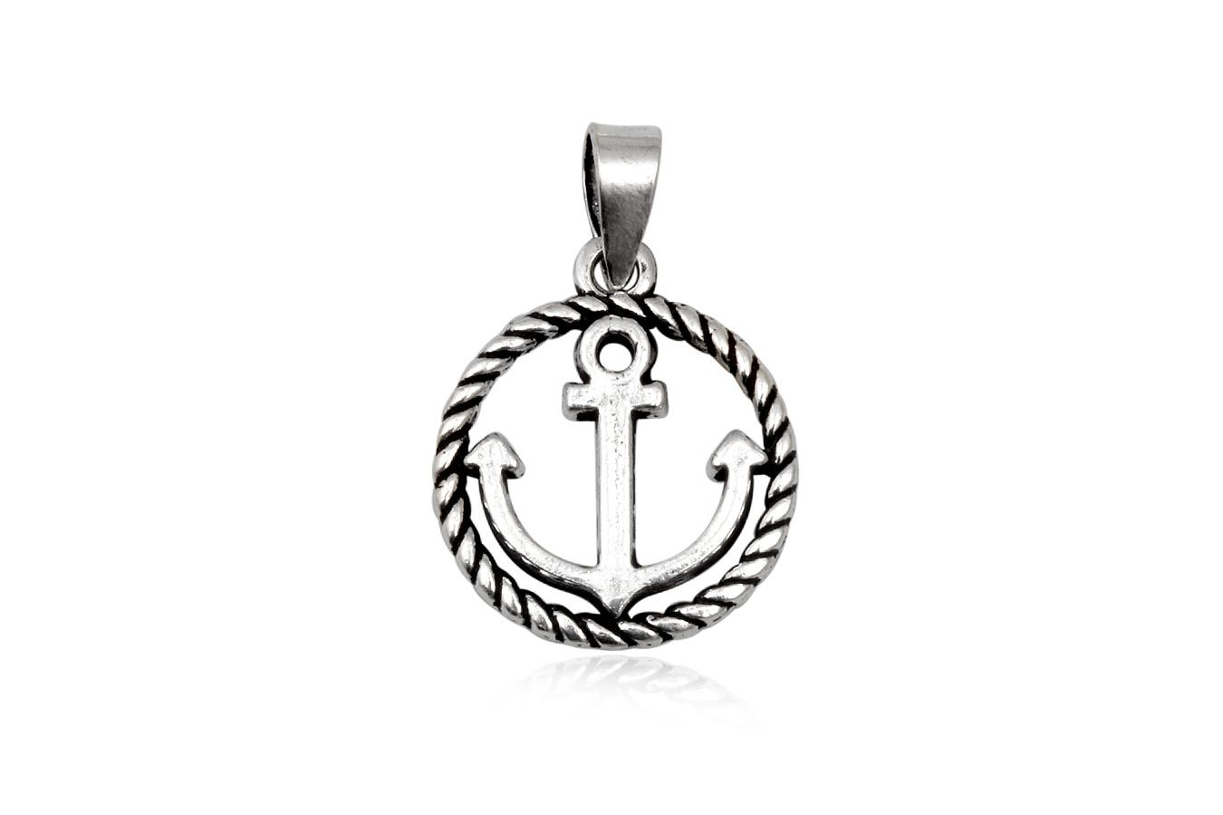 medalion cu ancora din argint