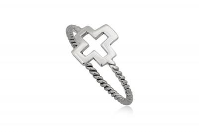 Inel din argint cu model Cruce decupata