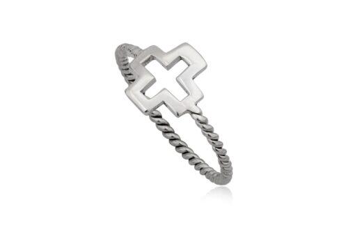 inel cruce decupata din argint