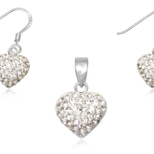 set inimi albe din argint si cristale