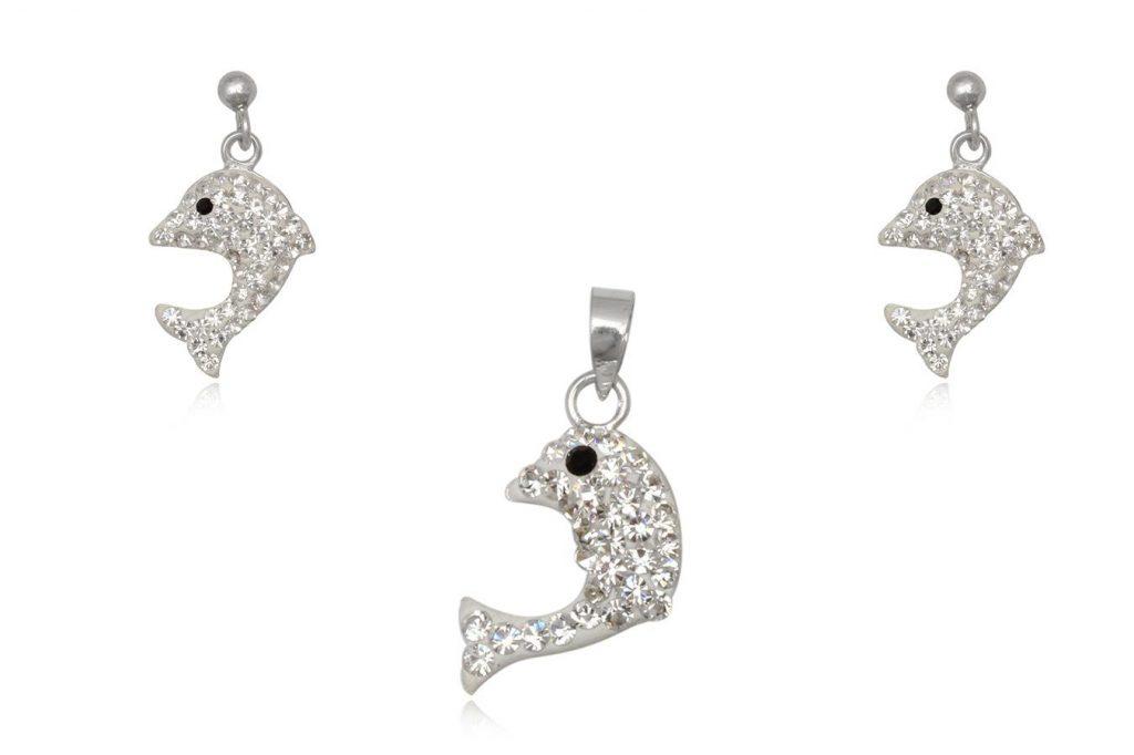 Set Delfini Din Argint Cu Cristale Albe