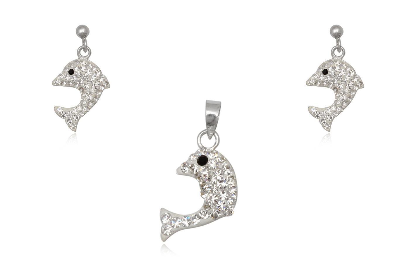 set delfini argint cu cristale albe