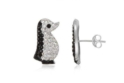 cercei pinguini din argint cu cristale