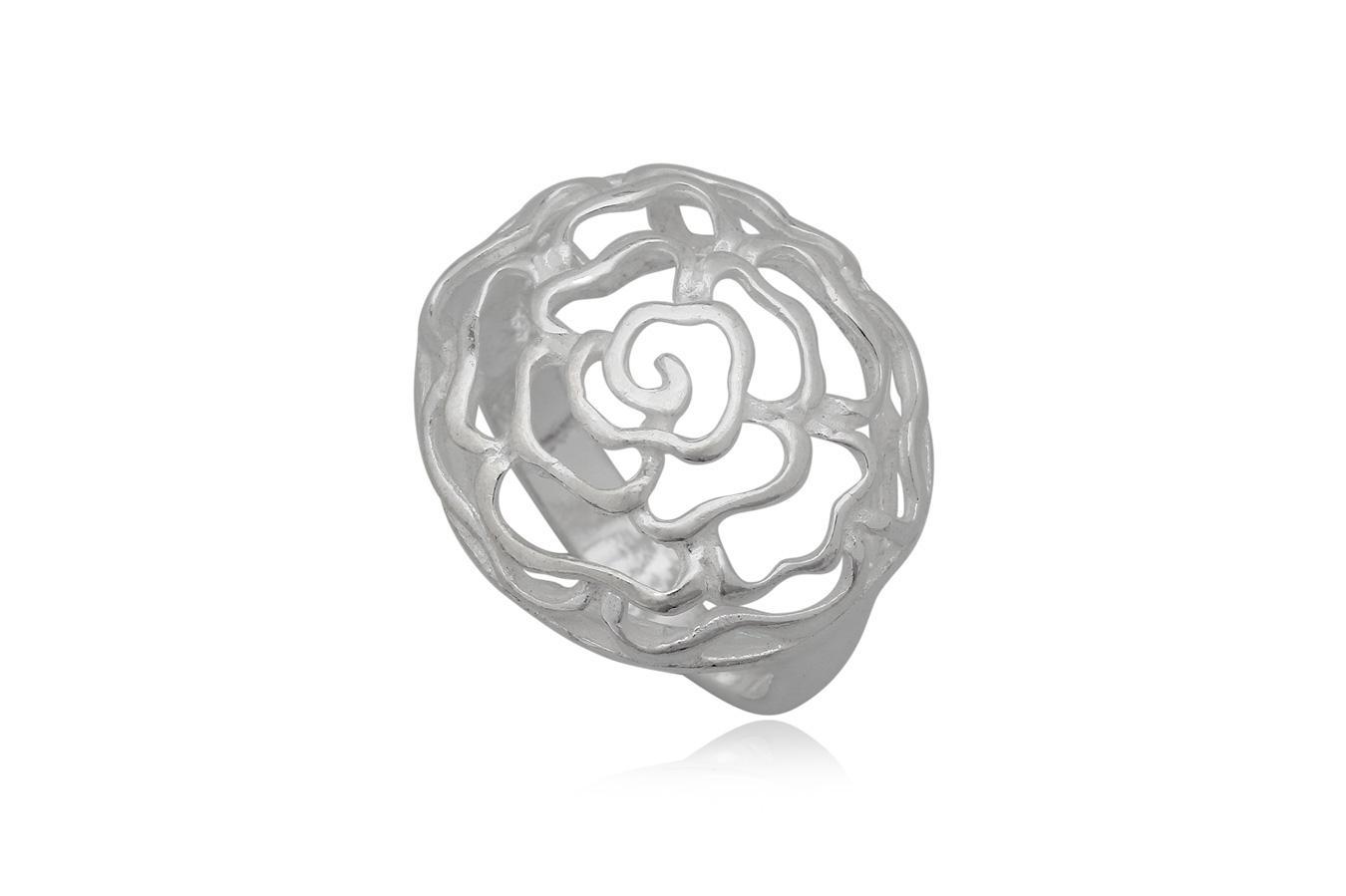 inel trandafir brodat in argint