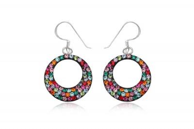 Cercei cercuri multicolore din argint si cristale