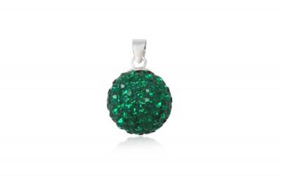 Pandantiv rotund din cristale verzi