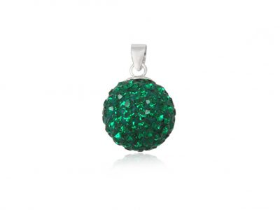 pandantiv rotund cu cristale verzi