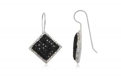 Cercei din argint cu romburi in alb si negru