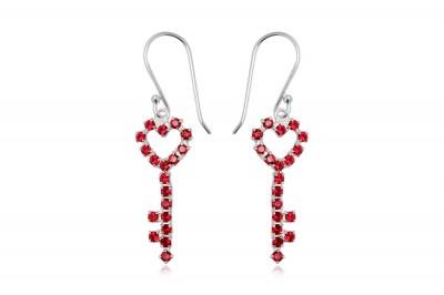 Cercei cheite din argint cu cristale rosii